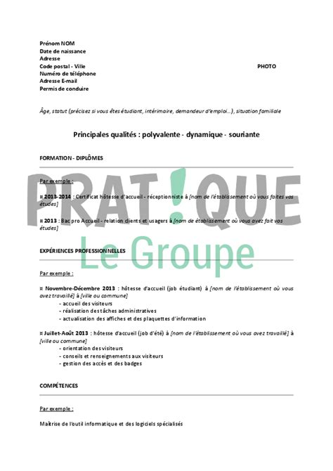 lettre deco cuisine modèle de cv pour un stage d hôtesse d accueil pratique fr