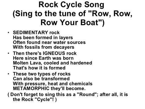 Boat Names After Songs by 6th Grade Ch 5 Sec 6 Rock Cycle