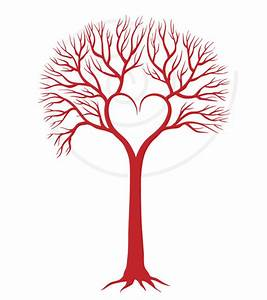 Red wedding tree with heart invitation