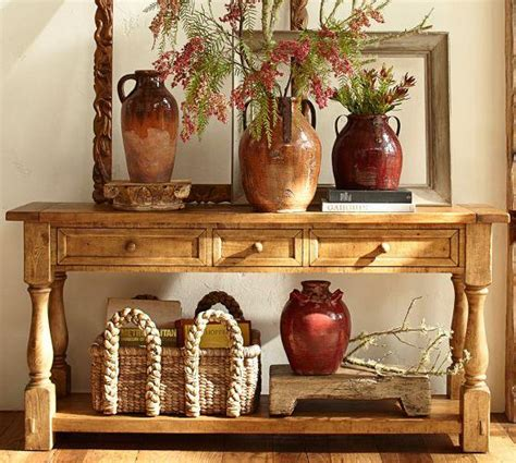 rustic  drawers natural wood console table