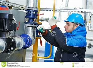 Industrial Worker At Installation Work Stock Image - Image ...