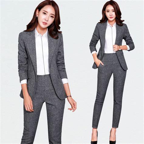 Business Attire Office OL Uniform Designs Women Elegant Dark Business Gray Pant Suits Work Wear