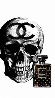 Chanel Skull With Chanel Noir Perfume Painting by Del Art