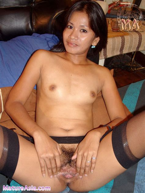 Thin And Sexy Asian Milf Wearing Black Stockings
