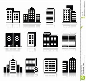 Office Buildings, Business Center Icons Set Stock ...