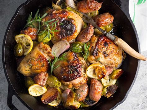 one pan chicken sausage and brussels sprouts recipe serious eats