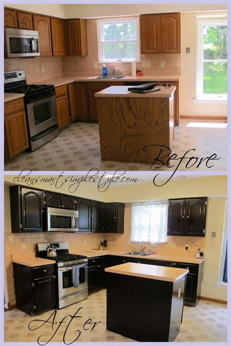 Gel Stain Cabinets Before And After by Gel Stain Kitchen Cabinet Before After Black Cabinets