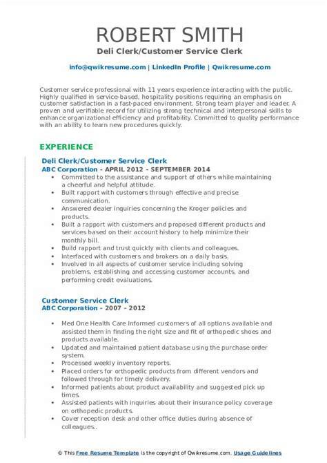 Deli Clerk Resume by Customer Service Clerk Resume Sles Qwikresume