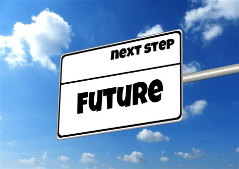 Next step, future, signpost with copy space at sky free image