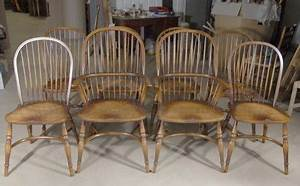 8 Farmhouse English Windsor Dining Chairs Yew For Sale