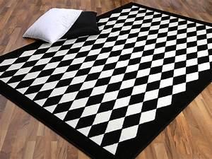 Teppich Schwarz Weiß : teppich trendline schwarz wei raute 4 gr en ebay ~ A.2002-acura-tl-radio.info Haus und Dekorationen