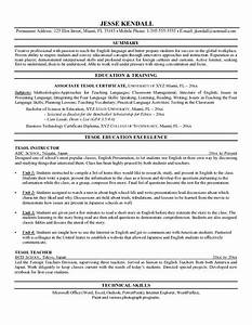 Example of a tesl instructor resume teaching english as for Instructor resume