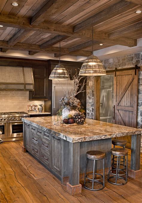 metal building homes interior  rustic country kitchens