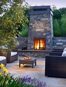 Outdoor Fireplace Design patio contemporary with stone