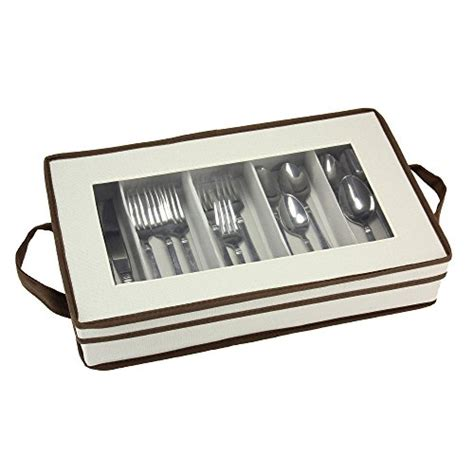 storage flatware essentials household box pouch trim window organizer cream brown chest reg cutlery silverware
