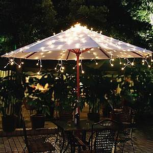 solar umbrella string lights in white bed bath beyond With outdoor string lights bed bath and beyond