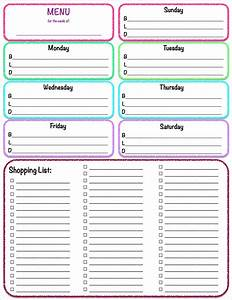 Weekly meal menu and grocery list planner template sample for Menu planning template with grocery list
