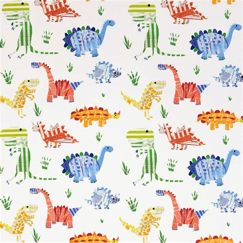 Kid Shower Curtains by Jolly Jurassic Fabric Aqua Tangerine Apple Natural 3229