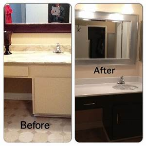 Before and after bathroom diy painted laminate counters for Painting laminate bathroom vanity