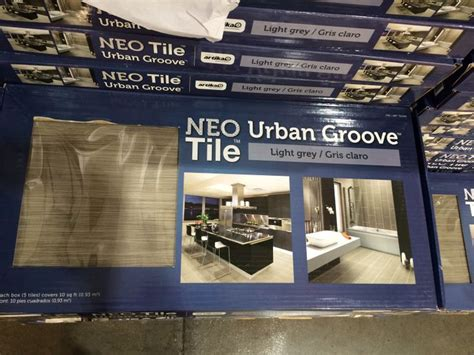 costco tile neo groove in light gray kitchen diy lights