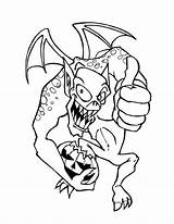 Coloring Halloween Monster Pumpkin Gremlins Happy Says Monsters Joyful Printable Evil Dragon Getdrawings Getcolorings Colorluna sketch template