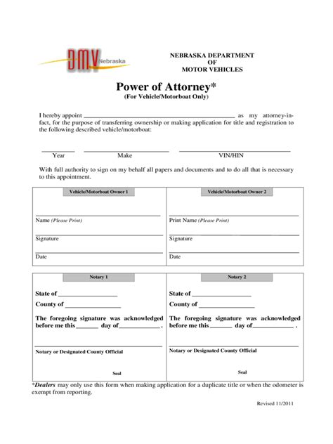nebraska power  attorney form  templates