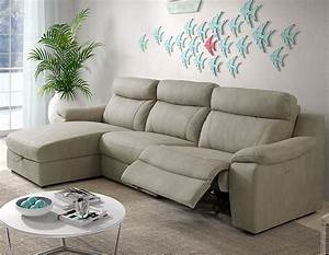 canape dangle relax electrique avec coffre beige en tissu With tapis design avec canapé electrique tissu