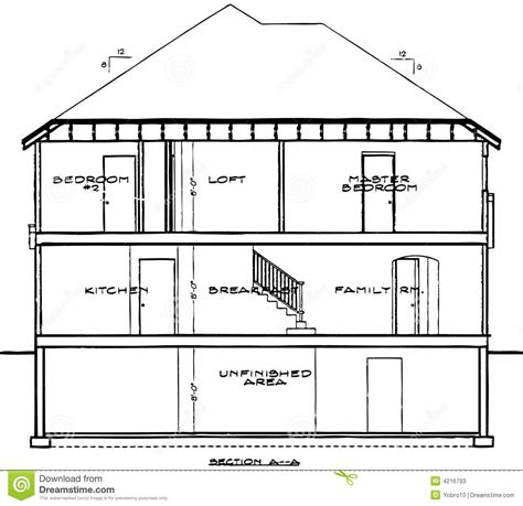 blue prints for a house house blueprint stock vector illustration of house