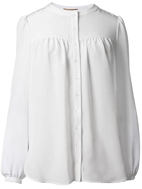 white blouse sleeve laurent sleeve blouse in white lyst