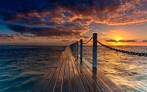 Landscape, Nature, Sunset, Pier, Wallpapers, Hd, Desktop