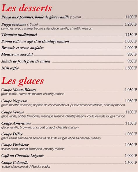 carte des desserts restaurant pizza pasta restaurant nouvelle cal 233 donie resto nc