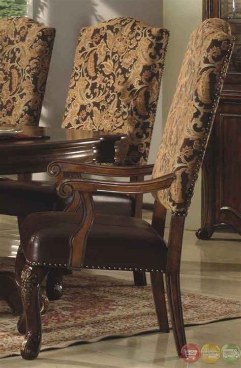 traditional walnut formal dining set  bonded leather