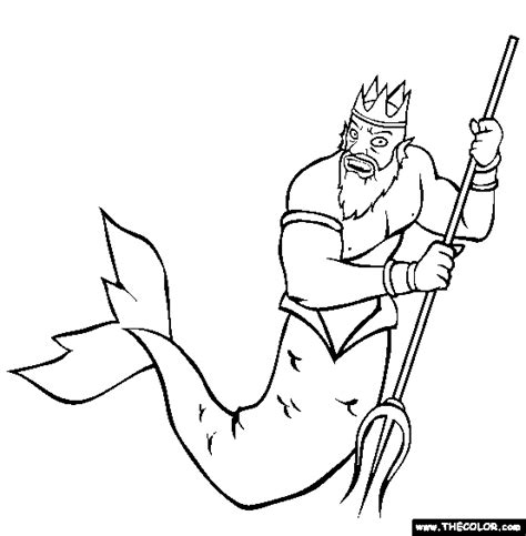 Poseidon Greek God Coloring Pages