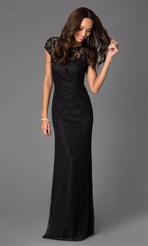 floor length short sleeve long lace dress