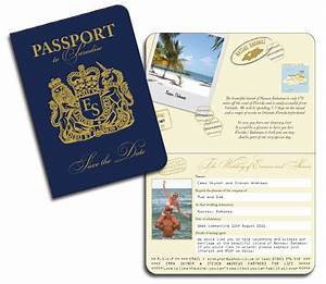 Passport invitations for Save the date passport template