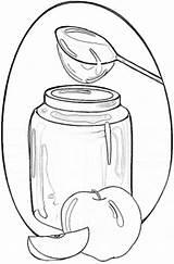 Honey Coloring Jar Apples sketch template