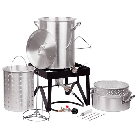 turkey fryer kit steamer backyard pro deluxe quart qt outdoor aluminum webstaurantstore btu electric pot catering grill print injector sold
