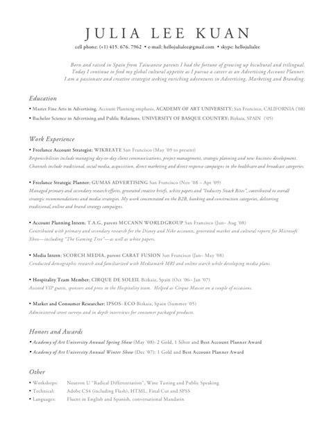 Account Planner Resume by Resume