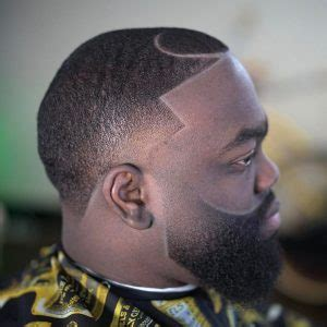 temple fade haircut  faded beard  black men