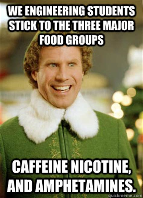 Engineering Student Meme - we engineering students stick to the three major food groups caffeine nicotine and hetamines