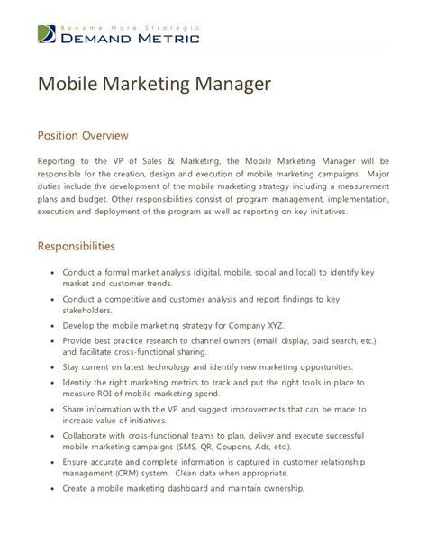 Marketing Manager Job Les