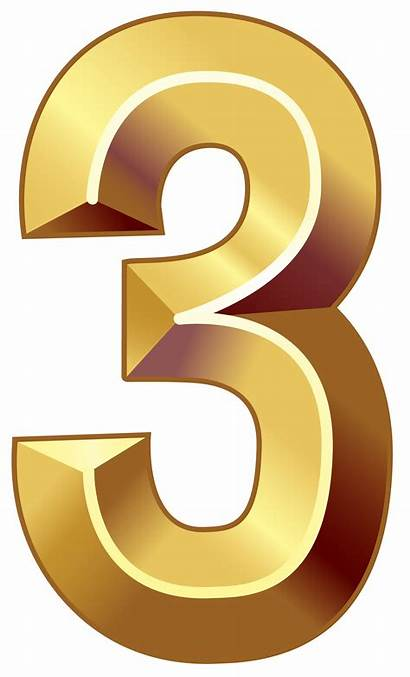 Number Clipart Three Numbers Clip Decorative Golden