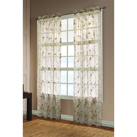 habitat embroidered floral print sheer curtains 108x84