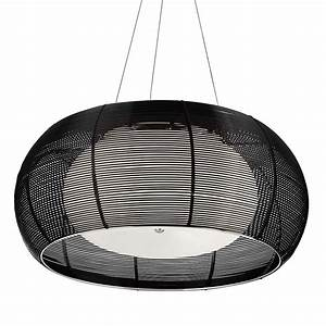 Bk black aluminium wire light pendant with opal