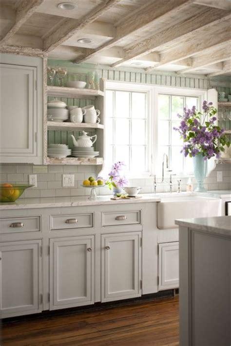 cottage style kitchen tiles painted beadboard backsplash cottage kitchen bhg 5924