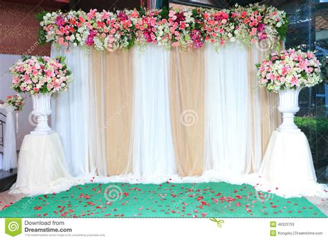 Colorful Backdrop Flowers With White And Gold Fabric