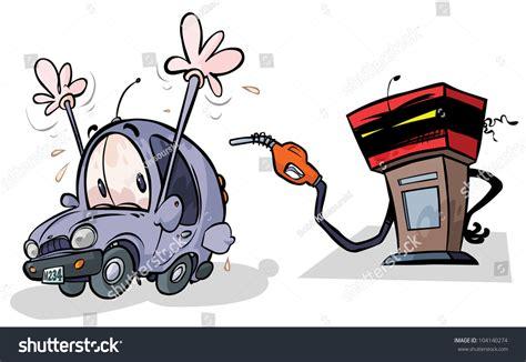Cartoon Gas Pump Car Stock Vektor 104140274