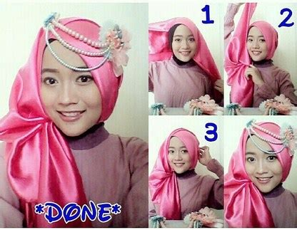tutorial hijab pashmina satin simple kreasi terbaru