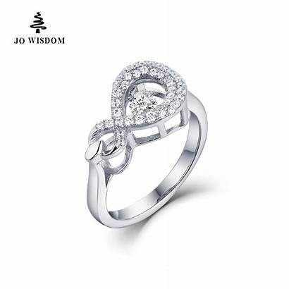 Rings Infinity Silver Engagement Dancing Natural Sterling
