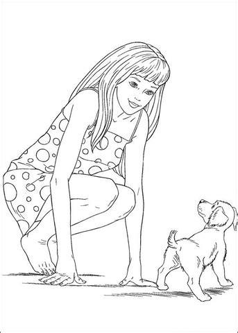ausmalbild barbie mit kleinem hund ausmalbilder kostenlos zum ausdrucken